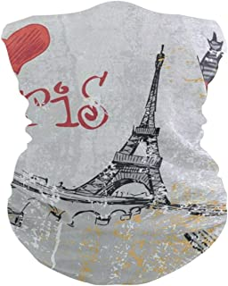 Intage France Street Love Paris Eiffel Tower Headband Womens Bandana Mens Balaclava,Neck Warmer,Face Mask,Tube Headwrap