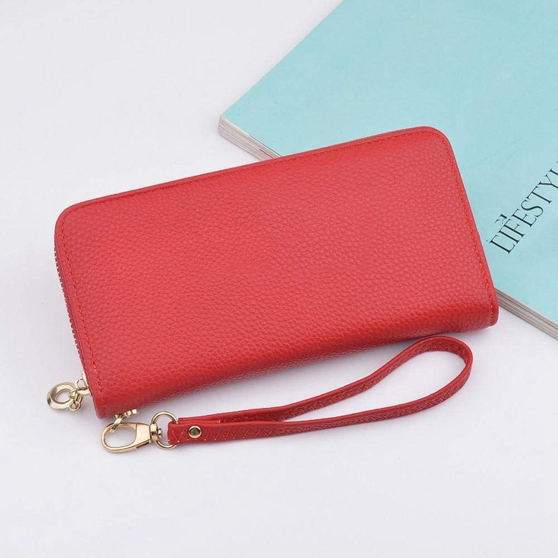 Girls Purse Women's Wallet,Lady Purse Hand Bag Large Zip Big Capacity Wallet PU Leather 19.5  9.5  2.5cm (color   A)
