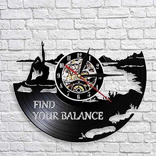 Find Your Balance Yoga Quotes On Life Reloj de Pared Yoga Studio Disco de Vinilo Reloj de Pared Om Zen Lotus Spirit