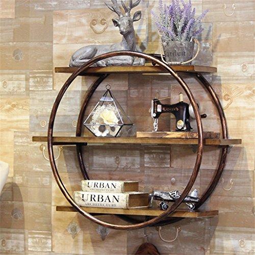 LH-Étagère à cadre Étagères murales rondes d'étagère en métal/étagère à vin de mur pour le bar/salon Étagère en bois de mur accrochante de LOFT pour la chambre comme étagère de stockage d'étagère