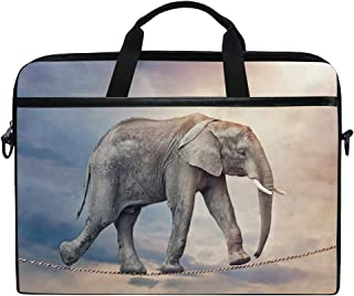 COOSUN Elephant On Tightrope Laptop Bag Shoulder Messenger Bag Simplicity Slim Briefcase Commuter Bag Case Business Sleeve Carrying Handle Bag for 14 inch to 15.6 inch Laptop Notebook