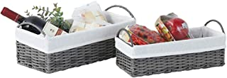HOSROOME Small Wicker Storage Baskets Set Shelf Baskets with Liner Decorative Baskets with Handle Organizing Nesting Baske...