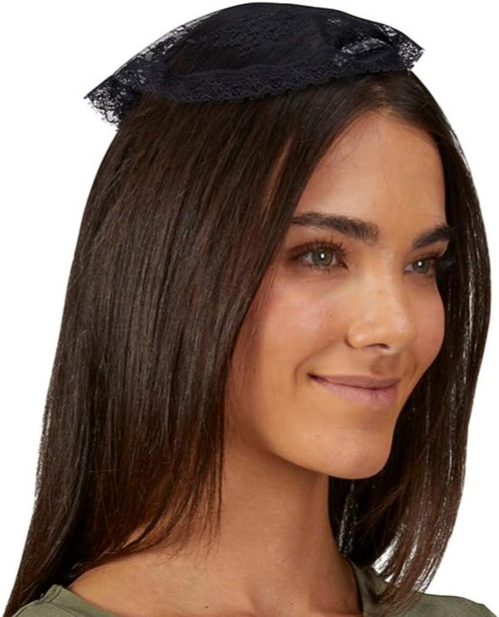 Needzo Chapel Veils Catholic Women's Black Cap Hair Accessory, 10 Inch