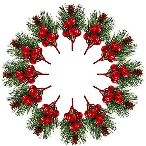 Pino di Artificiali Bacche Rosse Finte Pigne di Rami per Decorazione di Artigianato Fai-Da-Te di Interni Esterno di Natale (48 Pezzi)