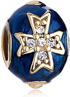 Blue Celtic Cross Clear Crystal Faberge Egg Charm Beads For Bracelets