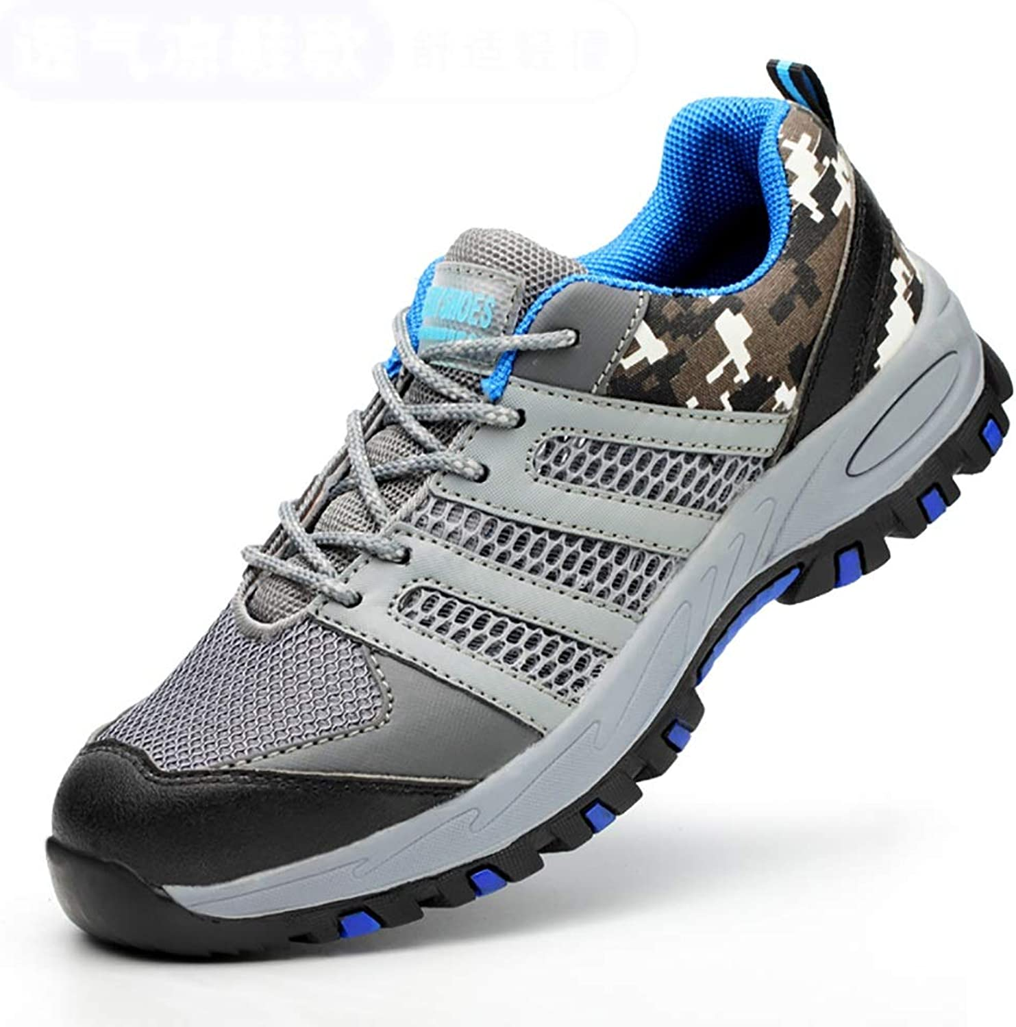 ZYFXZ Work shoes Lightweight breathable safety shoes, tendon outsole mesh anti-piercing work shoes safety shoes (color   A, Size   46)
