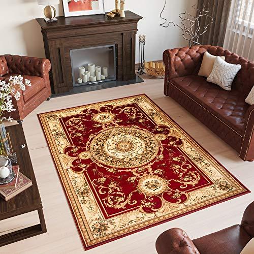 TAPISO YESEMEK Klassisch Teppich Kurzflor Orientalisch Teppiche Floral Medaillon Muster und Bordüre in Rot Creme Barock Design Wohnzimmer ÖKOTEX 70 x 140 cm