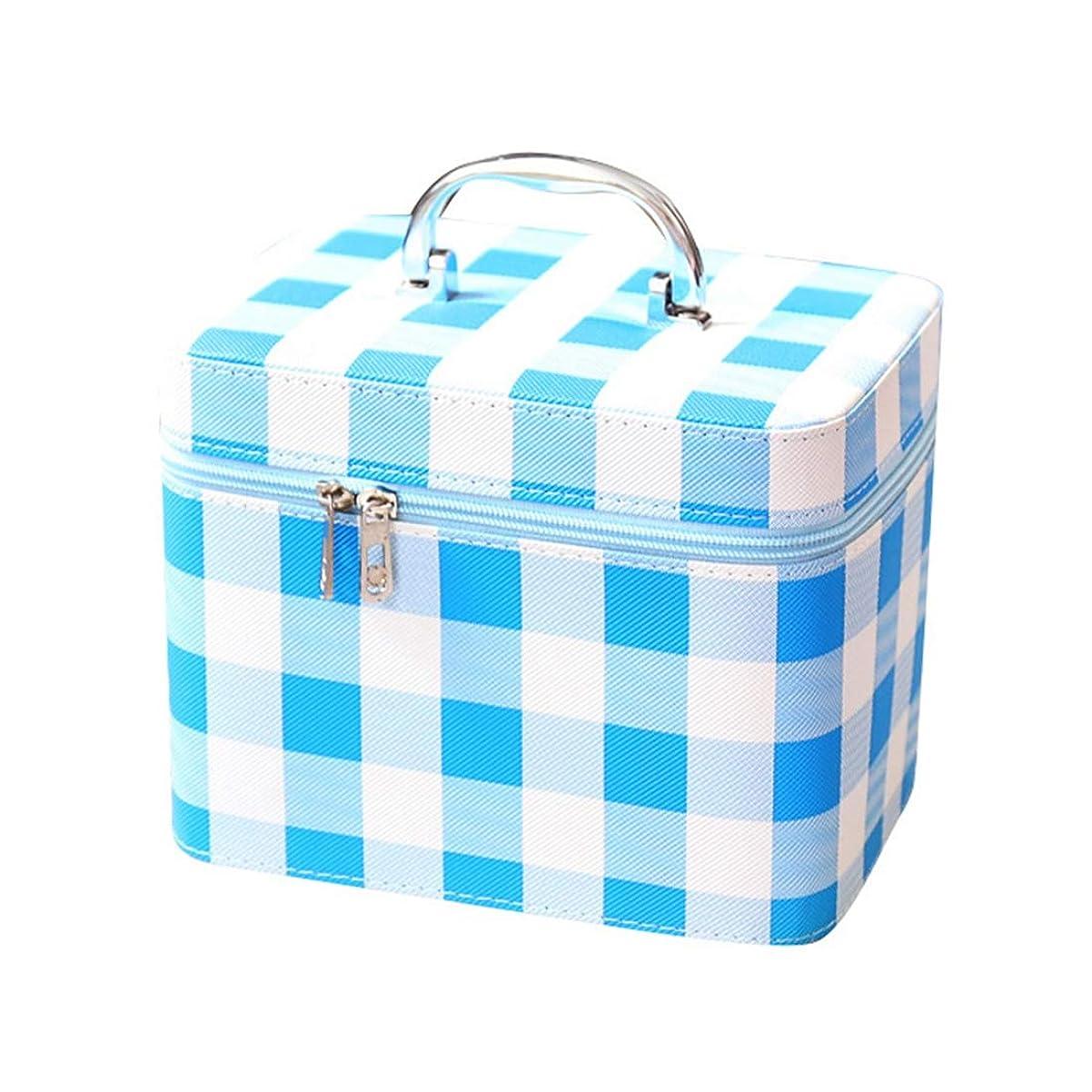 メイクボックス コスメボックス チェック チェック柄 明るい かわいい おしゃれ 持ち運び 化粧箱 化粧品入れ 鏡付き 小物入れ 機能的 収納バック 収納ケース 出張/旅行/お部屋 大きい/小さい レディース 取っ手付 ブルー