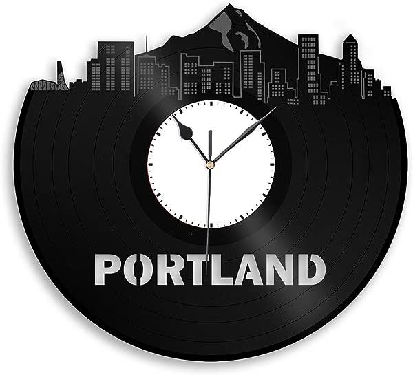 波特兰 VinylShopUS 乙烯挂钟城市天际线纪念品周年最好的礼物为家庭和办公室装修
