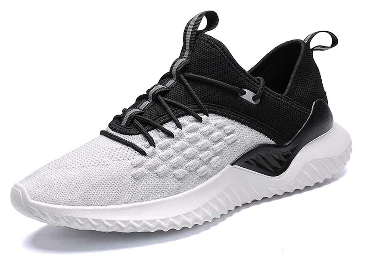TSIODFO Men's Trail Running Shoes Lightweight Breathable Comfort Fashion Sneakers Youth Big Boys Tennis Shoes Blue White Black