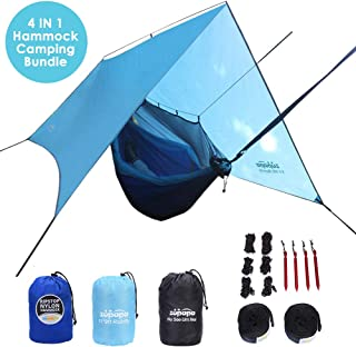 Camping Hammock with Mosquito Net and Rainfly, 4 in 1 Hammock Camping Bundle, Ripstop Hammock, Extra Large Tarp, Detachable Mosquito Net, Full Accessory Included for Backpacking, Hiking, Lightweight N