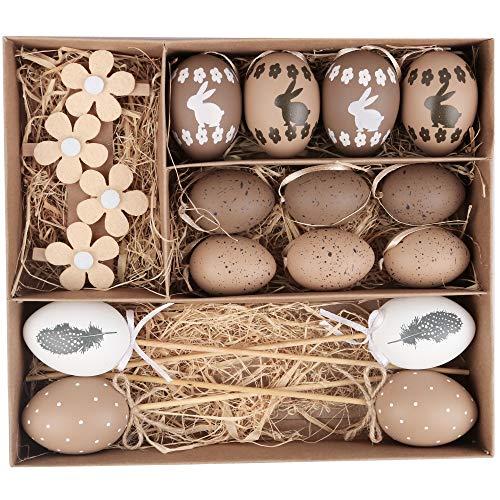 Valery Madelyn 18 Pcs Huevos de Pascua de 6-8cm Decoraciones de Pascua de Plastico Adornos de Pascua para Decoración Infantil, Decoración de Primavera, Colgante Regalo de Pascua Hogar Gris Marrón