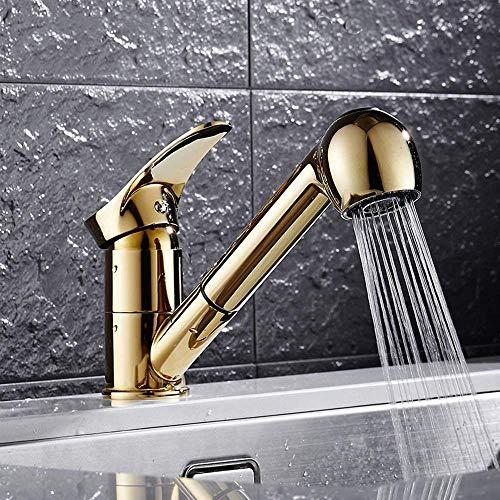 LIANGANAN Grifo de Moderna de oro del fregadero de cocina Lavadora Lavavajillas grifo baño Lavabo sobre el lavabo contrario Tirando Rotary caliente y frío del grifo hermoso práctica
