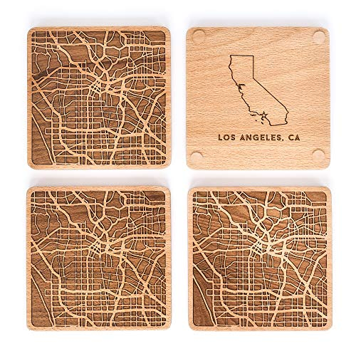 Greenline Goods Beech Wood Coasters Etched Wooden Coaster Set for Los Angeles Lovers | Set of 4 | Etched with Los Angeles Map and State of California | 2 Sided |