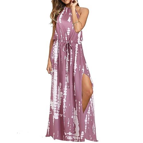 8d5b61a14e Blooming Jelly Women's Halter Backless Tie Back Drawstring Waist Tie Dye  Split Summer Vacation Maxi Dress
