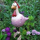 Gartendeko,Dekor Keramik Huhn Deko gartenfiguren,Garten Dekoration,Tierfigur Gartenstecker Keramikfigur Handarbeit Ornament,Handarbeit Gartenstatue Dekorative Gartenstecker (Rosa-1Pcs)