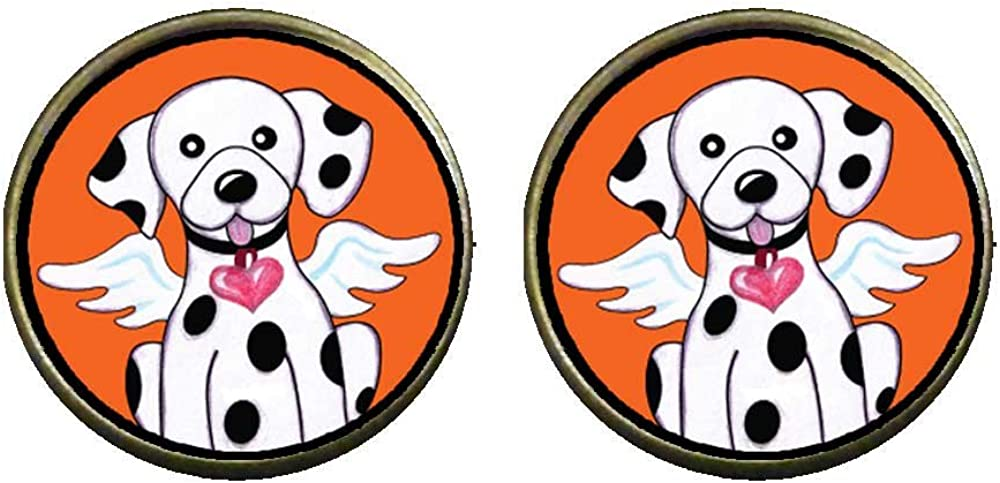 GiftJewelryShop Bronze Retro Style Dalmatian Dog From Heaven Photo Clip On Earrings 14mm Diameter