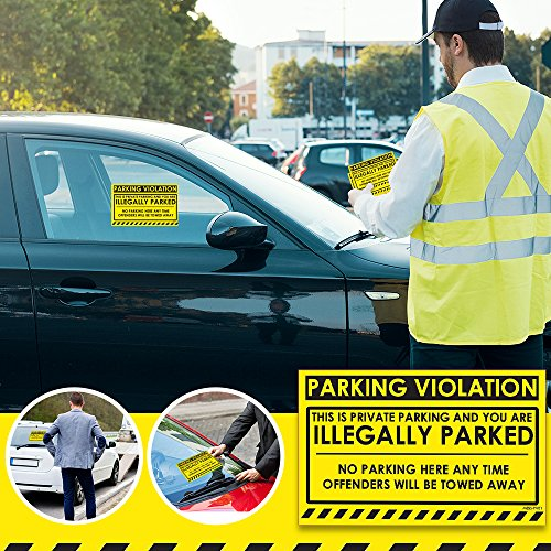 """No Parking Violation Stickers Hard to Remove (Yellow) 10-Pack Illegal Parking Warnings and Towing Tags for Illegally Parked Vehicles in Your Lot – Super Sticky Car Permit Notices 8"""" x 5"""" by MESS Photo #5"""