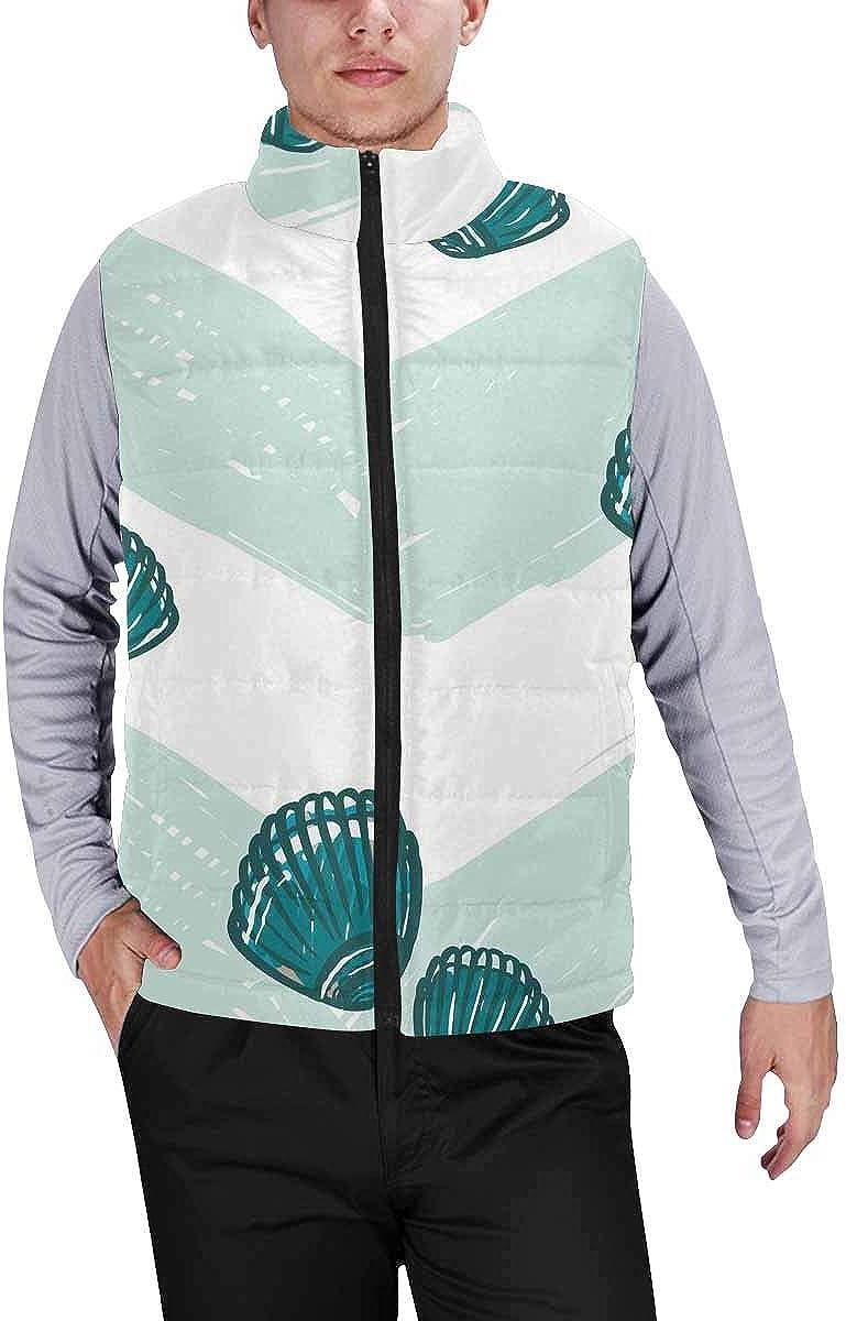 InterestPrint Men's Lightweight Sleeveless Jacket for Travel Hiking Running Cloud Rainbow Unicorn