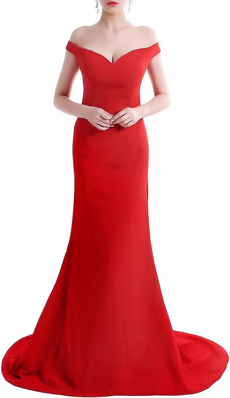 LEJY Women's Off the Shoulder Mermaid Long prom Dress Stain Eveving Dress