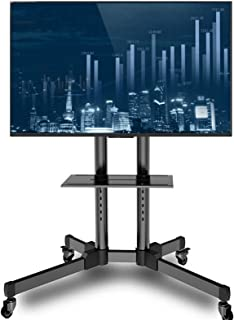 WSJTT Mobile TV Cart Rolling TV Stand with Laptop Shelf/Tray, Locking Wheels for 21-70 inch LCD LED OLED Plasma Display Tr...
