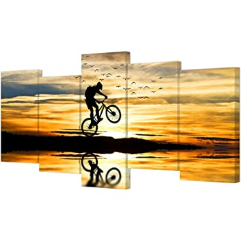 Sunset Motorcycle Road Artwork 5 Pieces Canvas Wall Art Poster Print Home Decor