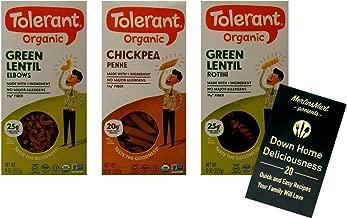 Tolerant Organic Gluten-Free Pasta 3 Shape Variety Plus Recipe Booklet Bundle, 1 each: Green Lentil Elbows, Chickpea Penne, Green Lentil Rotini (8 Ounces)