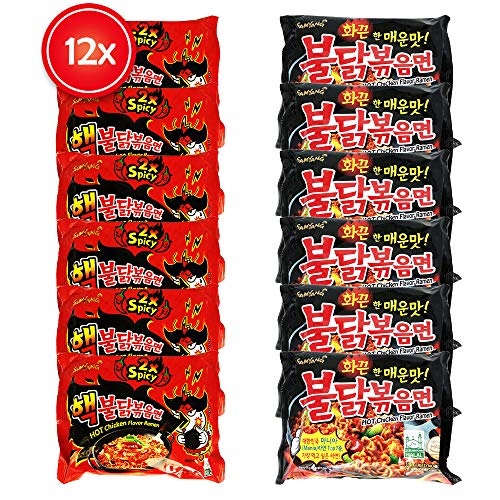 12x Samyang Ramen Instant Nudeln - Fire Noodle Set mit Hot Chicken Flavour - 6x Buldak Spicy & 6x Extra Spicy