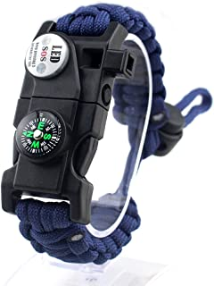 AKZYTUE 20 in 1 Adjustable Paracord Survival Bracelet, Tactical Emergency Gear Kit Includes SOS LED Flashlight, Compass, Rescue Whistle and Fire Starter-Outdoor Hiking Camping