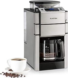 KLARSTEIN Aromatica X - Cafetière avec broyeur, 3 degrés de broyage, Minuterie, Ecran LED, Nombre de Tasses réglable, Filt...