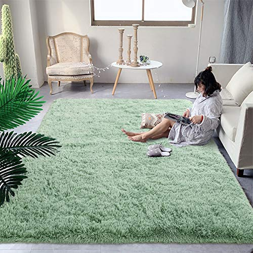 DweIke Soft Fluffy Shag Area Rugs for Living Room, Shaggy Floor Carpet for Bedroom, Girls Carpets Kids Home Decor Rugs,Cute Luxury Non-Slip Machine Washable Carpet ,4x6 Feet Green