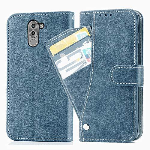 Asuwish Honor 6X/Mate 9 Lite, funda de piel plegable, con tarjetero, soporte fino, resistente a los golpes, carcasa rígida + funda para teléfono móvil para Honor 6X/Mate 9 Lite, color azul