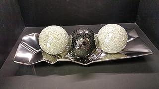 Funky de cerámica cromado ángulo bandeja con 3bolas de cristal en mosaico (2x Blanco Perla & 1x Espejo Negro