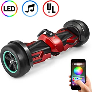 Spadger Hoverboard with Bluetooth Speakers and Led Lights,UL2272 Certified for Kids and Adult, Self Balancing Scooter Off Road, APP Control