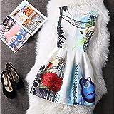 Wujiaba Print Kleider Frauen Sommer Ärmelloses Minikleid Floral Lässig Party Kurzen Boho Plus Size Kleid, Geige,L