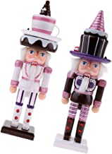 BAOBLADE 2pcs 25cm Vintage Wooden Nutcrackers w/ Cake Hat Figurine Statue Model Christmas Featival Decor Decorative Orname...