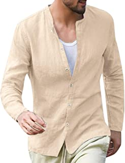 Forthery Men Linen Shirt for Men Summer Solid Long Sleeve Basic T Shirt Tops Stripe Fit Slim Button Down Collar Shirts