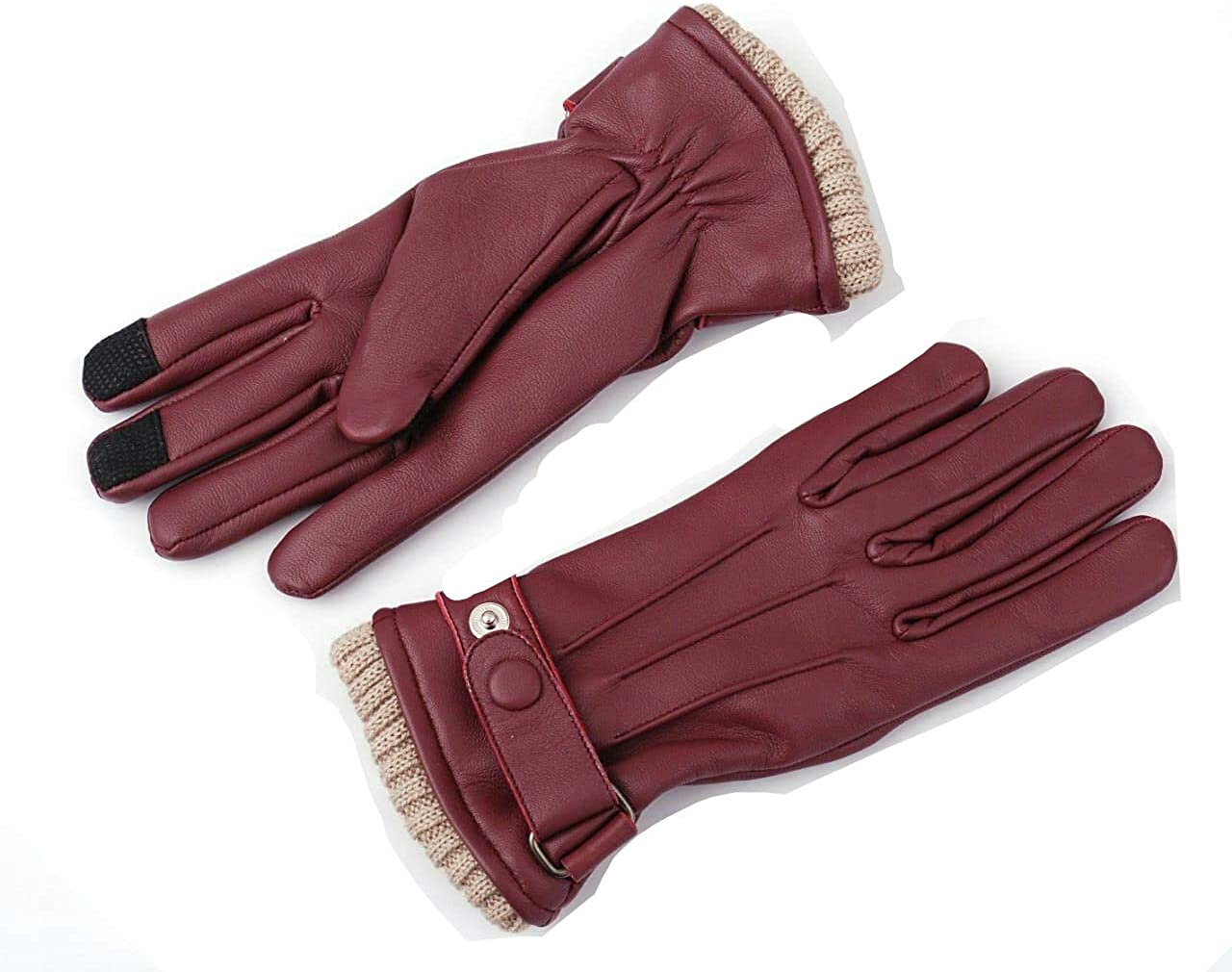 Women Genuine Sheep Leather Winter Dress Driving Riding Texting Gloves with Wool and Fleece Lining (Burgundy, X-Large)