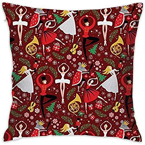 Decoratief kussensloop, kussensloop, vierkant kussensloop, notenkraker ballet slaapkamerkussensloop, geschenken 45X45Cm huisdecoratie aanpassen