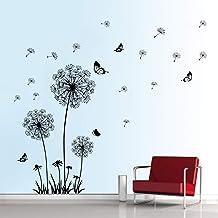 decalmile Muurstickers Zwart Paardebloemen Muurtattoos Vliegende bloemenvlinders Wanddecoratie Slaapkamer Huiskamer Kantoo...