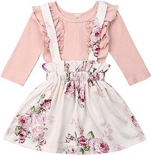 أزياء الخريف للبنات الصغار من Fashionnel ملابس قميص علوي + حزام تنورة فستان من قطعتين