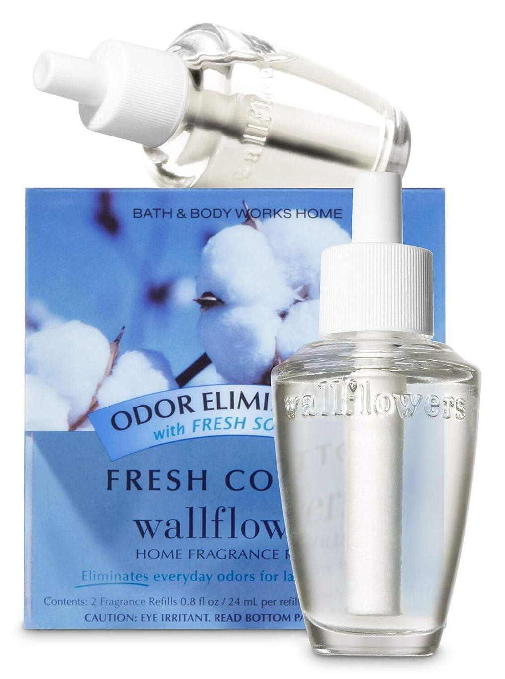 セメントいらいらする嵐の【Bath&Body Works/バス&ボディワークス】 ルームフレグランス 詰替えリフィル(2個入り) 消臭効果付き フレッシュコットン Wallflowers Home Fragrance 2-Pack Refills Odor eliminating Fresh Cotton [並行輸入品]
