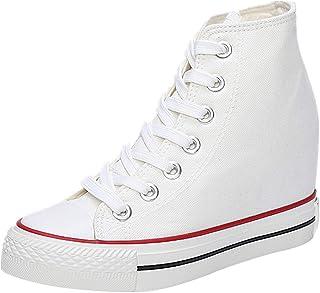 wealsex Donna Zeppe High-Top Scarpe di Tela Traspirante Nascosto Zeppe Scarpe Casual Sneaker Donna