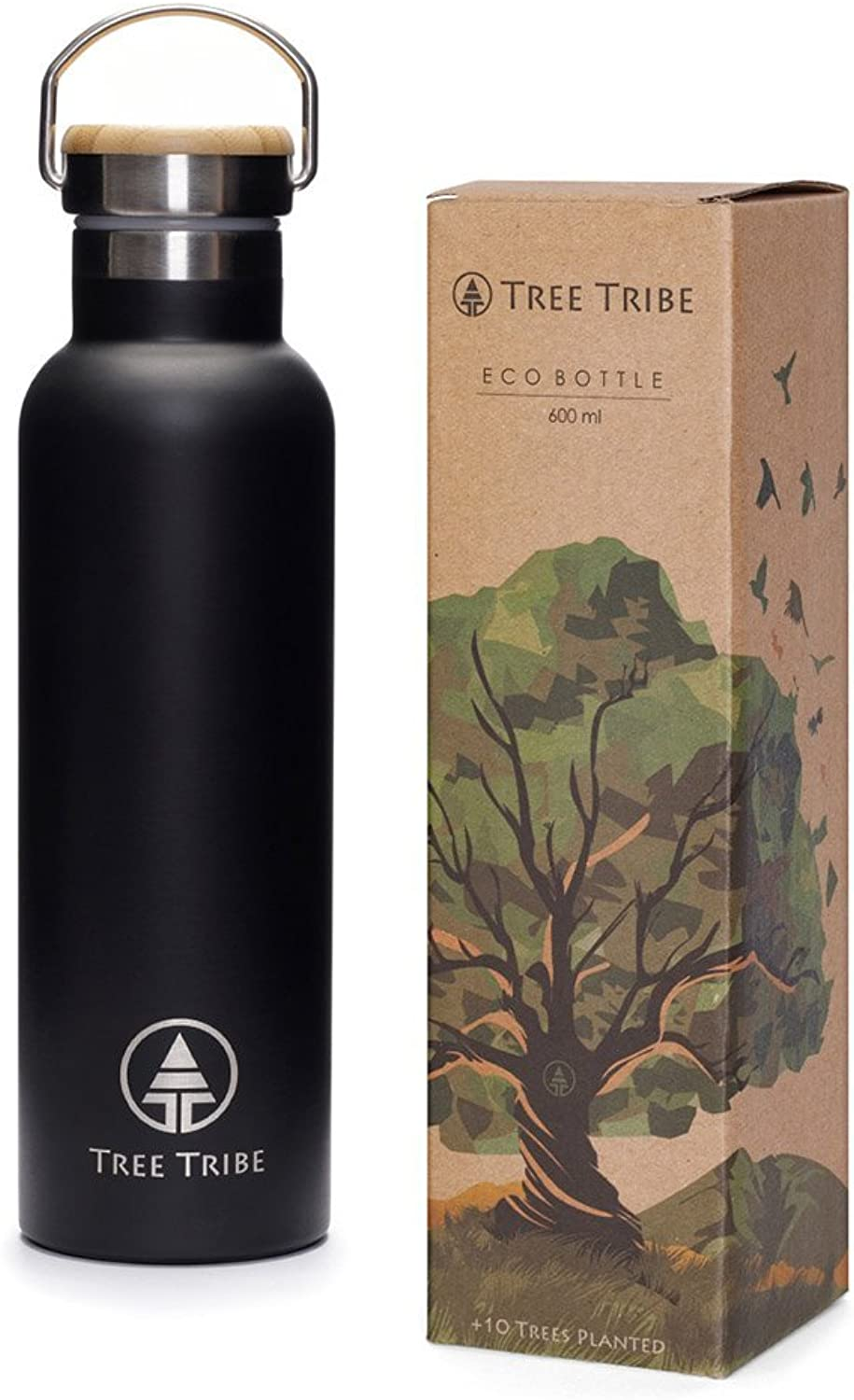 Tree Tribe Stainless Steel Water Bottle  Indestructible, Insulated, Eco Friendly, 100% Leak Proof, BPA Free No Plastic, Double Wall Thermos Technology for Hot and Cold Drinks, Wide Mouth, Bamboo Cap