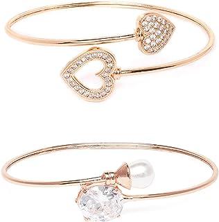 Zaveri Pearls Set of 2 Rose Gold Contemporary Cubic Zirconia Brass Kada Style Bracelet For Women-ZPFK11105