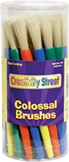 Creativity Street Chubby White Bristle Easy Grip Plastic Handle Paint Brush Set, 1/2 X 7 in, Multiple Color, Set of 30 - 76182
