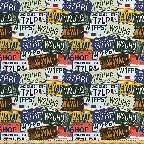 ABAKUHAUS USA Fabric by The Yard, Retro American Auto License Plates Utah Washington Rhode Island North Carolina Print, Fabric for Upholstery and Home Decor Accents,1M (148x100cm), Multicolor