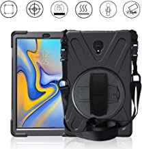 Gzerma Case for Samsung Galaxy Tab S4 10.5 2018 Model, Kids Friendly Heavy Duty Rugged PC Silicone Cover Case with Hand Band & Shoulder Strap for Samsung Tab S4 10.5 2018 T830 / T835 / T837, Black