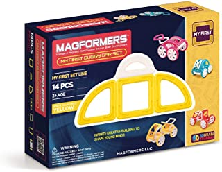 Magformers My First Yellow Buggy 14 Pieces, Educational Magnetic Geometric Shapes Tiles Building STEM Toy Set Ages 3+