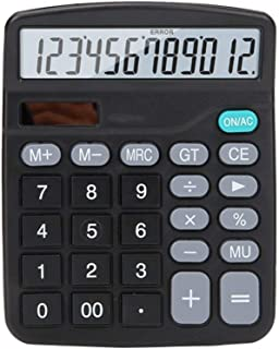 Solar Dual Power Office Financial Accounting Calculator 12-bit LED Screen HD Display Clear Protection Eye Calculator Offic...